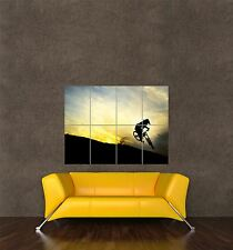 POSTER PRINT PHOTO SPORT DOWNHILL MOUNTAIN BIKE SILHOUETTE BICYCLE SUNSET SEB532