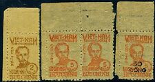NORTH VIETNAM-1946 2d Brown and 5d Red with later 1956 50 Dong on 5d surcharge