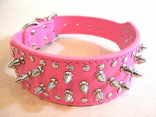 Spiked, Studded PU Leather Dog Collar 4 Large Dog, Pink, Red, Black, Camouflage