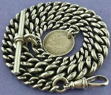Heavy Antique Hallmarked Solid Silver Albert Pocket Watch Chain W Coin/Fob