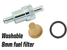 Billet aluminium 8 mm washable inline alloy fuel filter road race rally