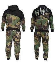 Mens Boys Camo Designer Zipped Top Bottoms Jogging Suit Tracksuit S-XL
