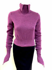 NWT CHANEL Orchid-Fuchsia CashmereTurtleneck Sweater w/Pointed Collar & Cuffs 40