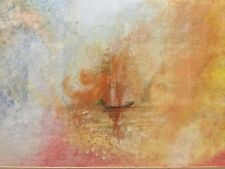 Oil Painting of a Ship on a Firey Sunset Sea