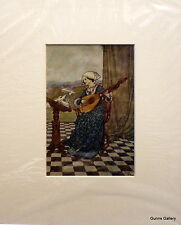 Vintage Print  Edmund Dulac c1916 mounted ready to frame The Wind's Tale