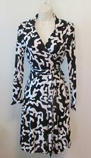 Diane von Furstenberg T72 Firebird Black white 6 wrap dress Jeanne DVF silk