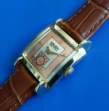 Stunning Vintage Mans Gruen *CURVEX* Hand Winding Silver-Salmon Dial Serviced