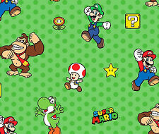 FAT QUARTER NINTENDO SUPER MARIO CHARACTERS  SPRINGS CREATIVE 100% COTTON FABRIC
