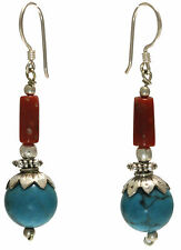 VINTAGE STYLE TURQUOISE & CORAL EARRINGS JEWELRY GENUINE STERLING SILVER ARTISAN