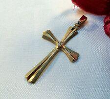 Kreuz Anhänger 333 Gold mit weißen Stein Kettenanhänger / bh 919