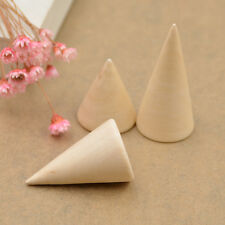Jewellery Display Stand Ring Organizer Case Wooden Cone  Showing Stand 3pcs