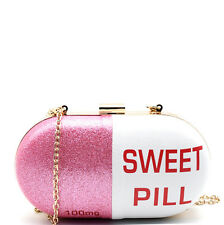 New 3am Forever® Sweet Pill Novelty Hard Frame Clutch w/ Strap -Pink