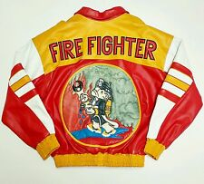 Fire Fighter Faux Leather Jacket Hip Hop Rap Vtg Vintage Color Block 90s Cartoon