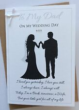 Handmade Personalised Silhouette Dad from Daughter Bride On Wedding Day Card