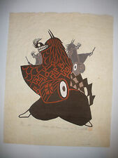 1967  LISTED YO IWASHITA (Japan 1917 ) Dance with Three Lions woodcut  woodblock