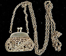 Vintage Sterling Silver and Marcasite Necklace/Pendant Purse