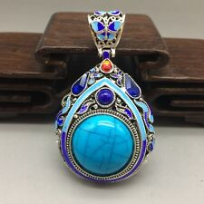 China's Tibet silver inlay cloisonne & zircon by hand pendants
