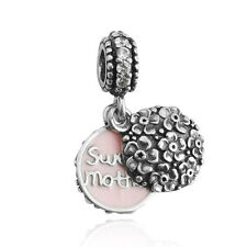 2pcs Sweet mother paint Silver Charm Bead For 925 Necklace Bracelet Chain