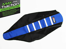 YAMAHA YZ125 2002 2003 2004 RIBBED SEAT COVER BLACK + BLUE + WHITE STRIPES RIBS