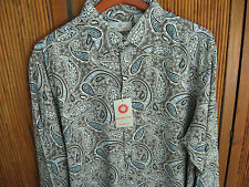 NWT Mens Silk Camp Shirt Floral Button up Long Sleeved Gray Paisley 60s New XL