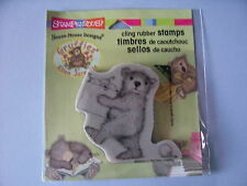HOUSE MOUSE RUBBER STAMPS CLING DECORATING BEAR GRUFFIES CHRISTMAS STAMP