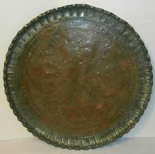 HUGE VTG FRENCH COUNTRY COPPER ETCHED SCENES TRAY TINNED PIE CRUST EDGE