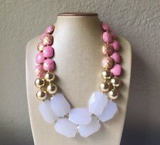 Pink gold White Statement Necklace Chunky Bib Big Beaded Jewelry Blush