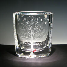 "Enchanting One of A Kind ORREFORS VASE engraved by Ray Lapšys "" TREE of LIFE """