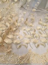 "IVORY GOLD METALLIC  EMBROIDERY RHINESTONE LACE FABRIC 50"" WIDE 1 YARD"