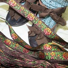 "1y VTG 1/2"" FRENCH FLOWER JACQUARD RIBBON BROWN GOLD ROSE DOLL DRESS TRIM ANTIQU"