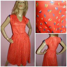 70s 80s RED/MULTICOLOURED DITSY PRINT DAY DRESS 10-12 S 1970s SUMMER KITSCH