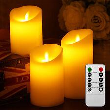 3er Set LED Kerzen aus Echtwachs mit beweglicher Flamme Fernbedienung f. Aussen