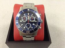 Mens Stauer Stainless Blue Dial Swiss Dive Divers Watch Chronograph Date 200m