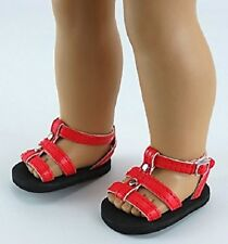 """Red Studded Strap Shoes Sandals Fits 18"""" American Girl Doll Clothes"""