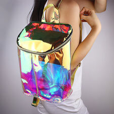 Women Fashion Hologram Backpack Clear Transparent PVC Holographic Book Bag New