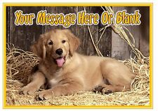 ND1 Cute Puppy Dog golden retriever personalised A4 cake topper icing sheet