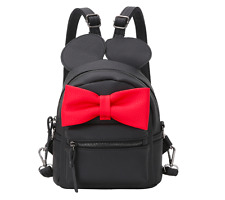 Black Mickey Mouse Minnie Mouse Contrast Oversized Bow Tie Small Backpack