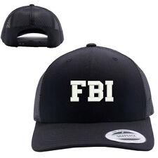 FBI Federal Bureau of Investigation MESH TRUCKER SNAP CLOSURE CAP HAT BLACK