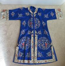 20thC Hand Embroidered Figural Chinese Robe Forbidden Peking Stitch Couching