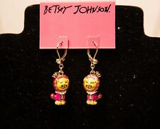 Authentic Betsey Johnson Jewelry Day at the Zoo Lion Drop Earrings NWT