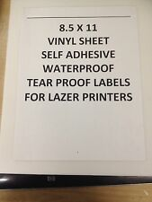 5 Sheets (8.5 X 11) Vinyl Sheets For Lazer Printers. Waterproof and tear proof.
