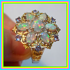 Genuine Ethiopian Welo Opal Tanzanite TG5.65ct Ring S Silver 925 sz 6 7 9 option
