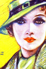 Matilde 1935 SWEET GIRL in GREEN HAT and  COAT Spanish Art Deco Cover Matted