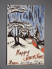 R&L Postcard: Original Hand Drawn Painted Christmas One-Off, Unposted