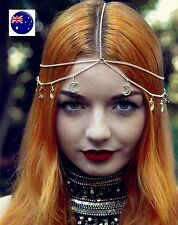 Women Lady BOHO Gold Moon wedding Party Hair chain head band Headband headpiece