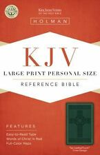 KJV Large Print Personal Size Reference Bible, Green Cross Design LeatherTouch