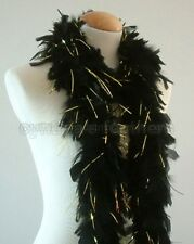 """45g 52""""long Black w/ Gold Tinsels chandelle feather boa diva night dress up, NEW"""