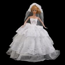 Vintage White Princess Wedding Dress Clothes Gown + Veil For Barbie Doll
