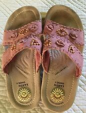 Earth Sandal Pink Suede Wood Beads  7