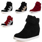new Womens Velcro Strap Hidden Heel High Top Sneakers Ankle Wedge Shoes Boot
